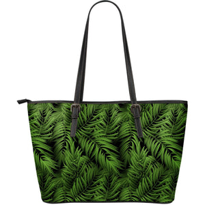 Night Tropical Palm Leaf Pattern Print Leather Tote Bag GearFrost