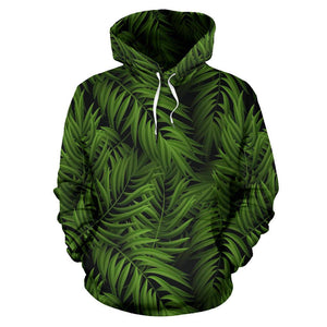 Night Tropical Palm Leaf Pattern Print Pullover Hoodie GearFrost