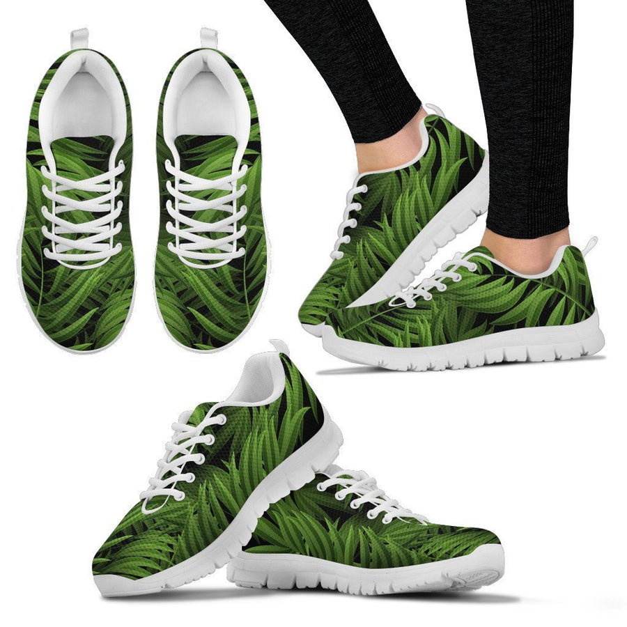 Night Tropical Palm Leaf Pattern Print Women's Sneakers GearFrost