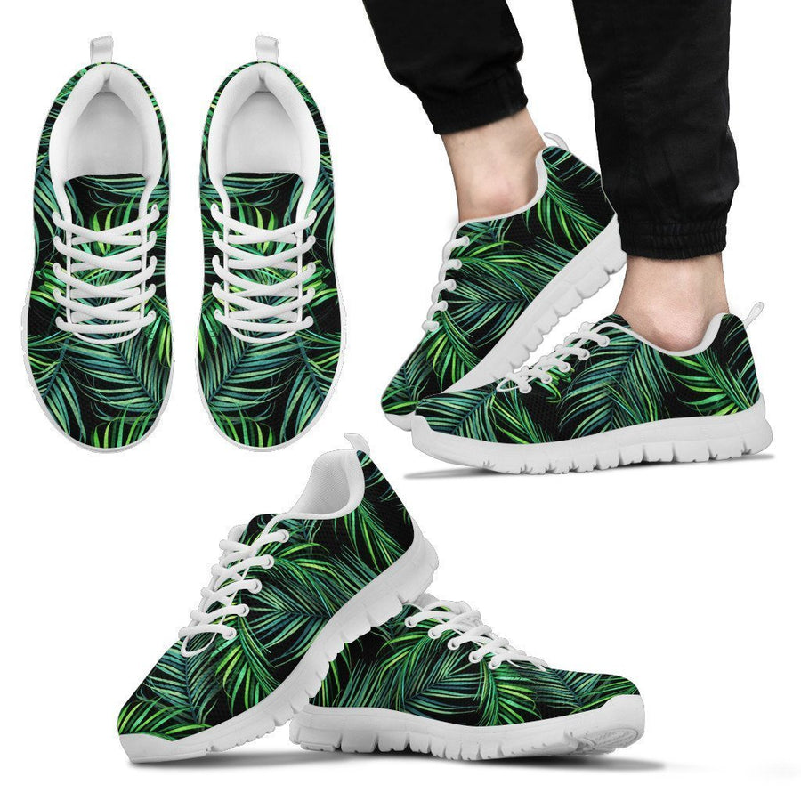 Night Tropical Palm Leaves Pattern Print Men's Sneakers GearFrost
