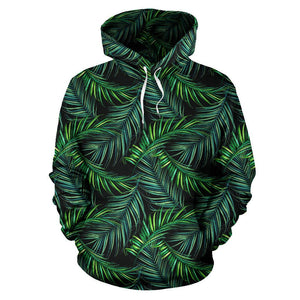 Night Tropical Palm Leaves Pattern Print Pullover Hoodie GearFrost