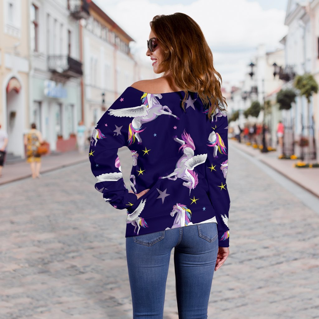 Night Winged Unicorn Pattern Print Off Shoulder Sweatshirt GearFrost