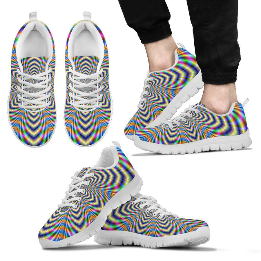 Octagonal Psychedelic Optical Illusion Men's Sneakers GearFrost