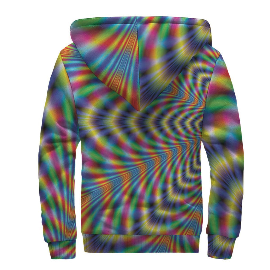 Octagonal Psychedelic Optical Illusion Sherpa Lined Fleece Hoodie GearFrost