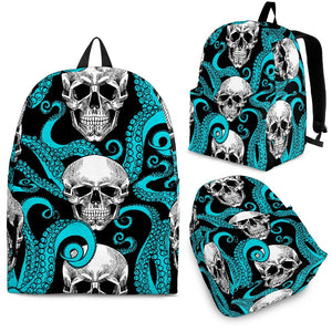 Octopus Tentacles Skull Pattern Print Backpack GearFrost