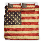 Old American Flag Patriotic Duvet Cover Bedding Set GearFrost