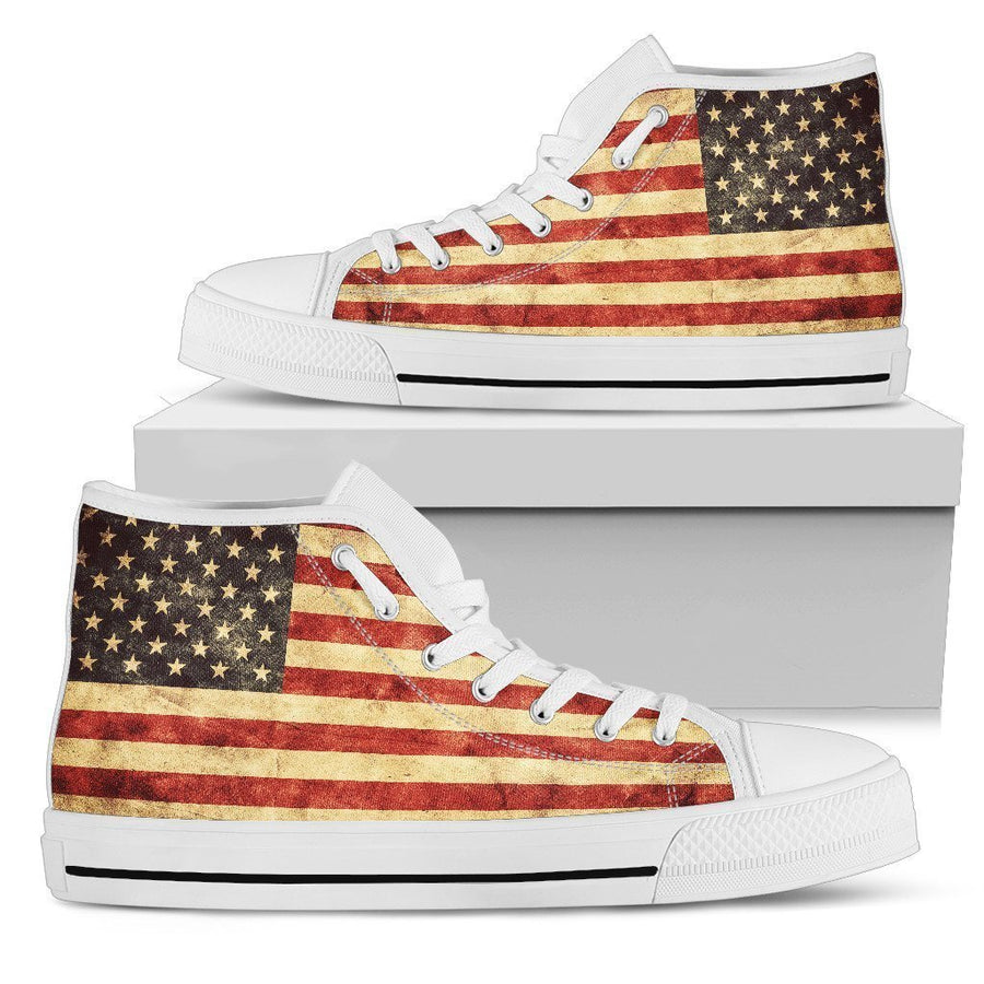 Old American Flag Patriotic Men's High Top Shoes GearFrost