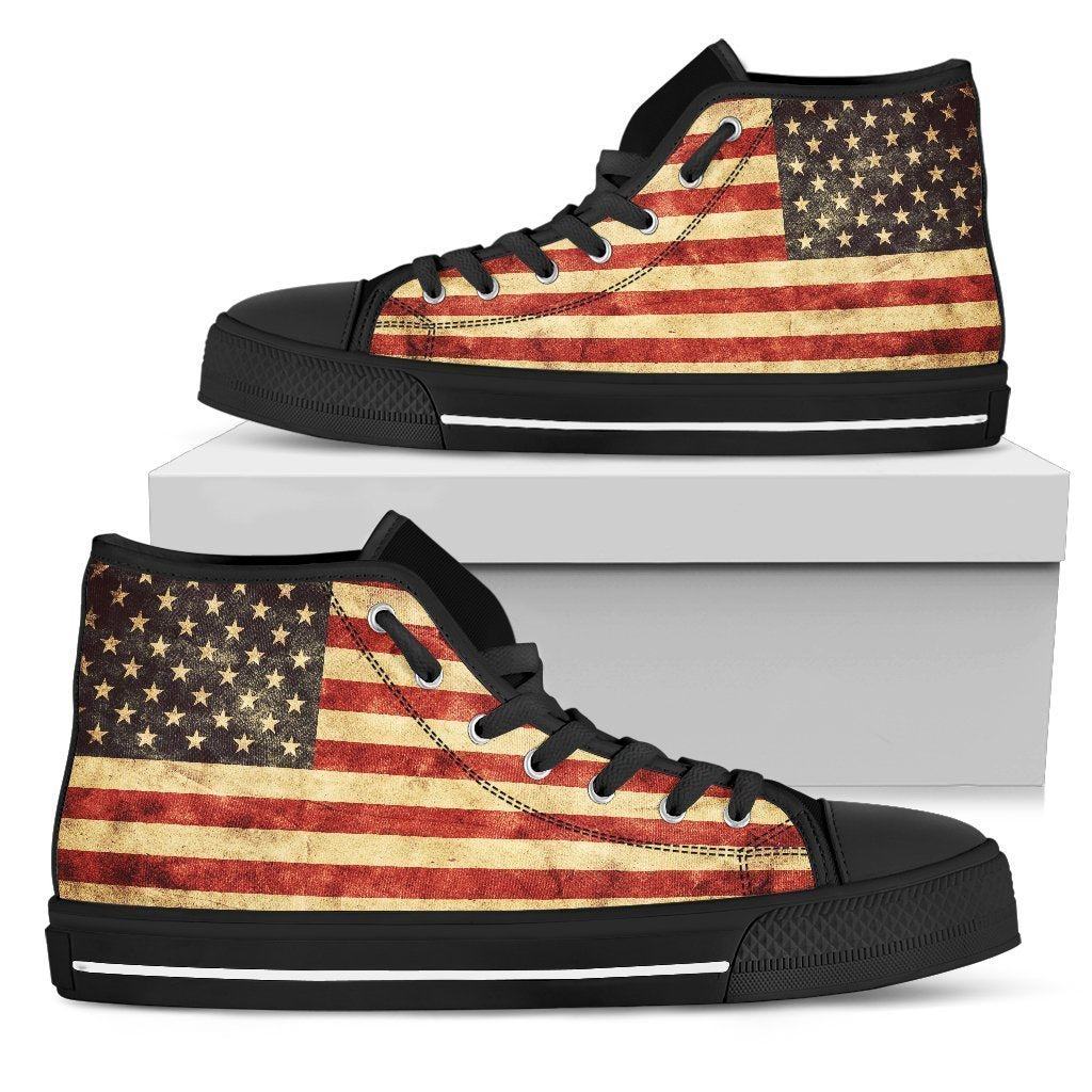 Old American Flag Patriotic Women's High Top Shoes GearFrost