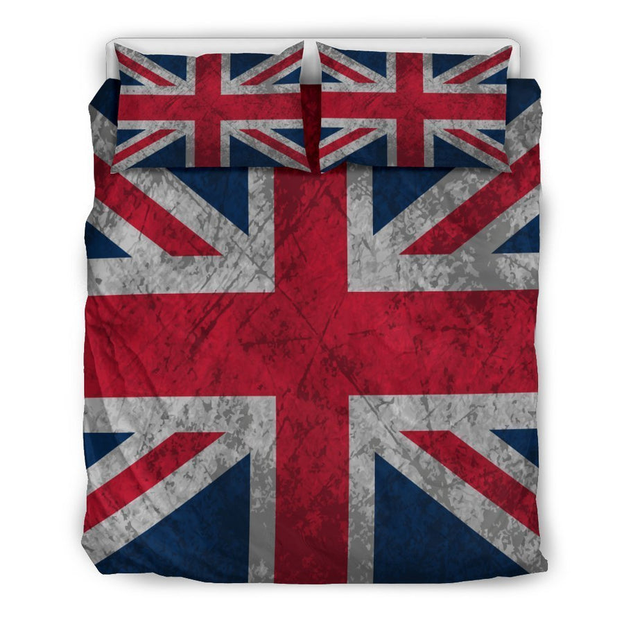Old Grunge Union Jack British Flag Print Duvet Cover Bedding Set GearFrost
