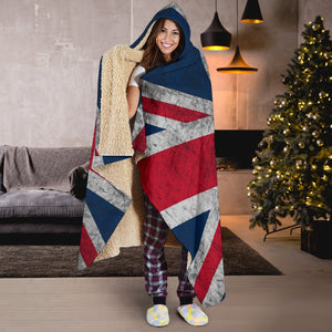 Old Grunge Union Jack British Flag Print Hooded Blanket GearFrost