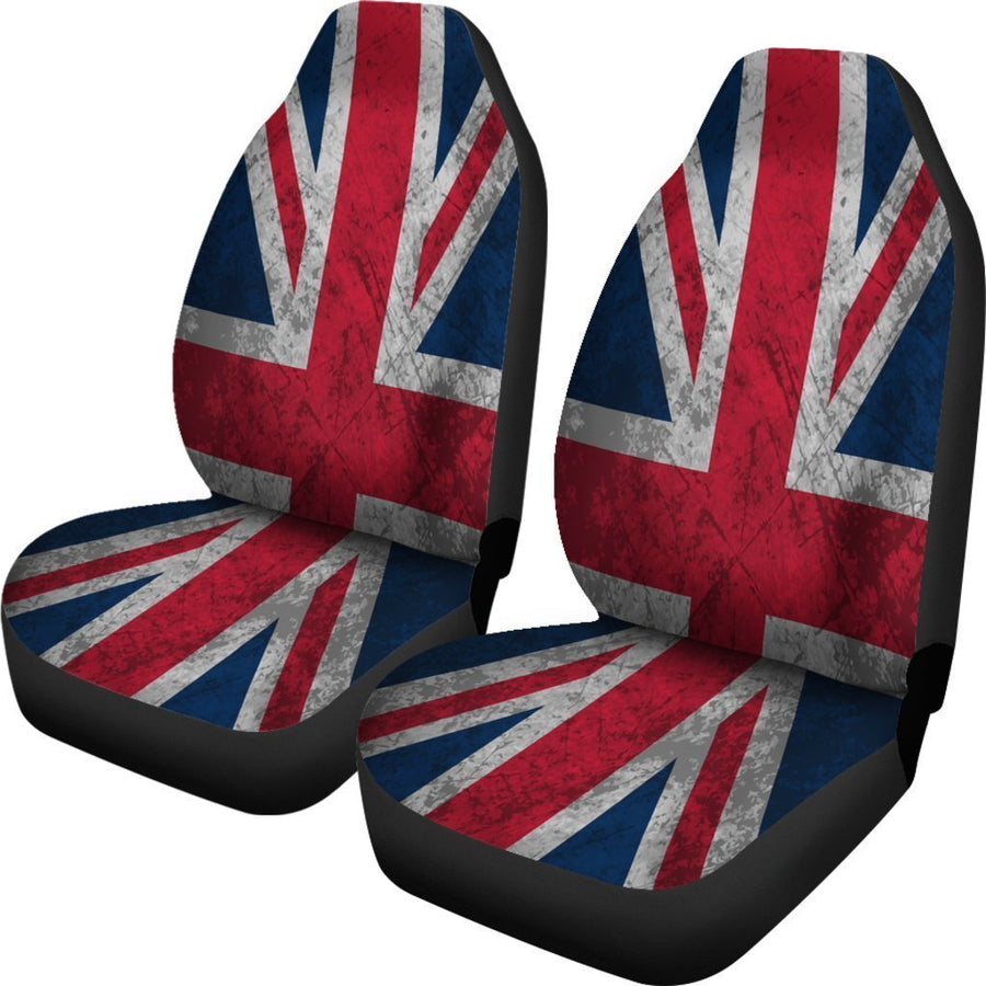 Old Grunge Union Jack British Flag Print Universal Fit Car Seat Covers GearFrost