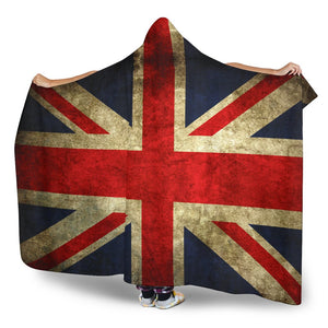 Old Union Jack British Flag Print Hooded Blanket GearFrost