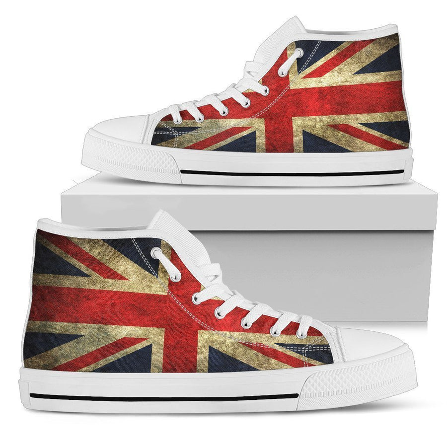 Old Union Jack British Flag Print Men's High Top Shoes GearFrost