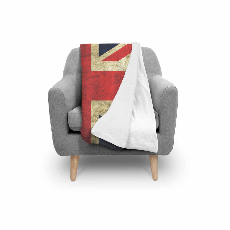 Old Union Jack British Flag Print Sherpa Blanket GearFrost