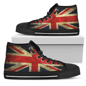 Old Union Jack British Flag Print Women's High Top Shoes GearFrost