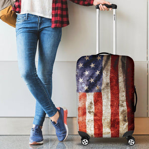 Old Wrinkled American Flag Patriotic Luggage Cover GearFrost