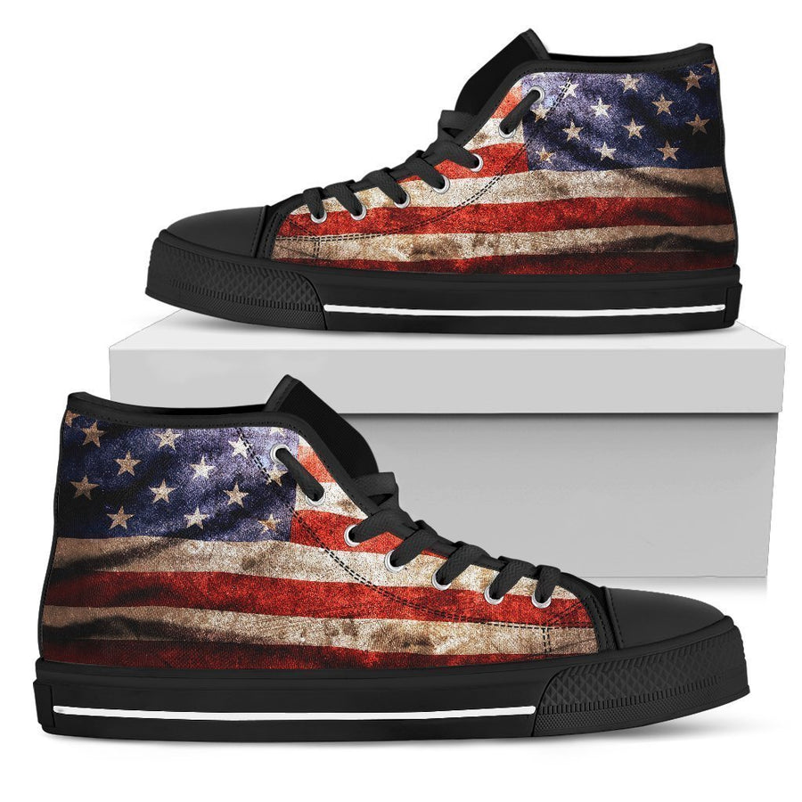 Old Wrinkled American Flag Patriotic Men's High Top Shoes GearFrost
