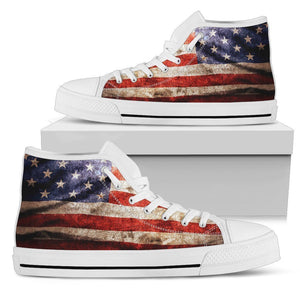Old Wrinkled American Flag Patriotic Women's High Top Shoes GearFrost