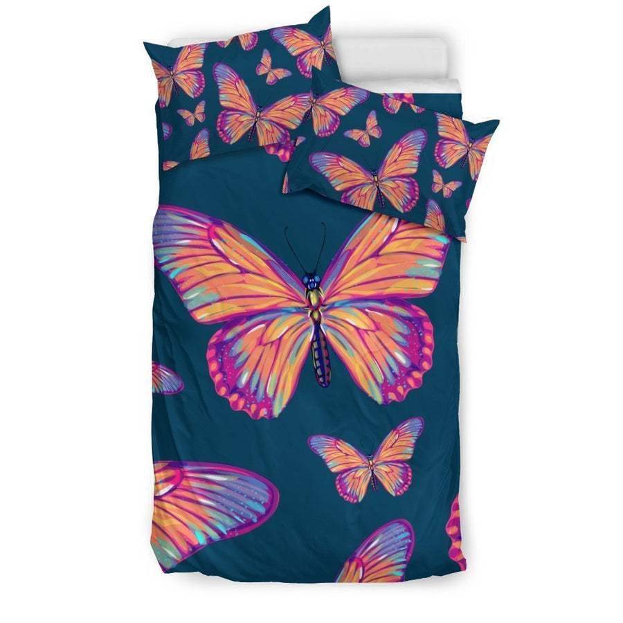 Orange And Purple Butterfly Print Duvet Cover Bedding Set GearFrost