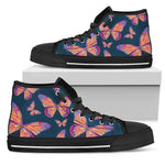 Orange And Purple Butterfly Print Men's High Top Shoes GearFrost