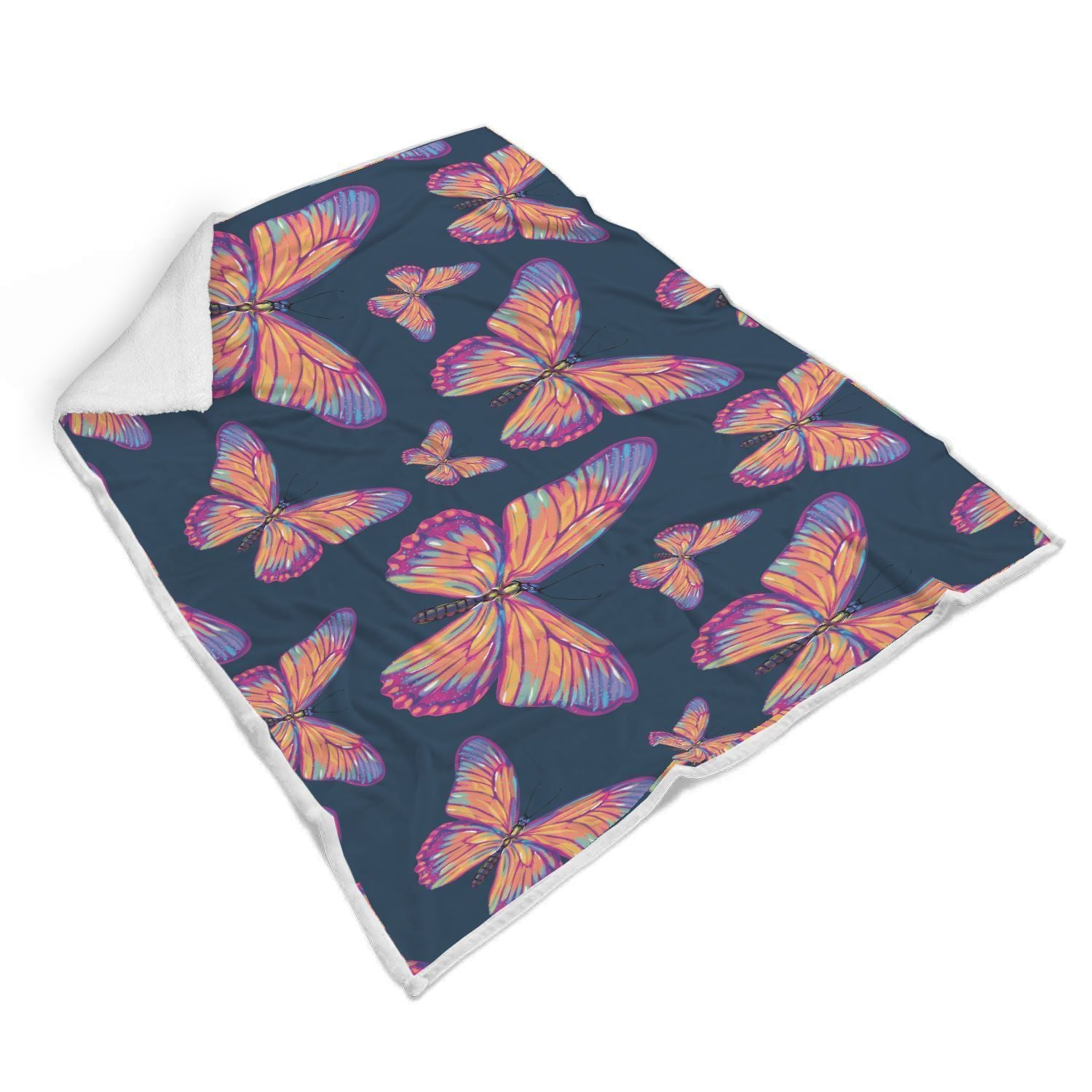 Orange And Purple Butterfly Print Sherpa Blanket GearFrost