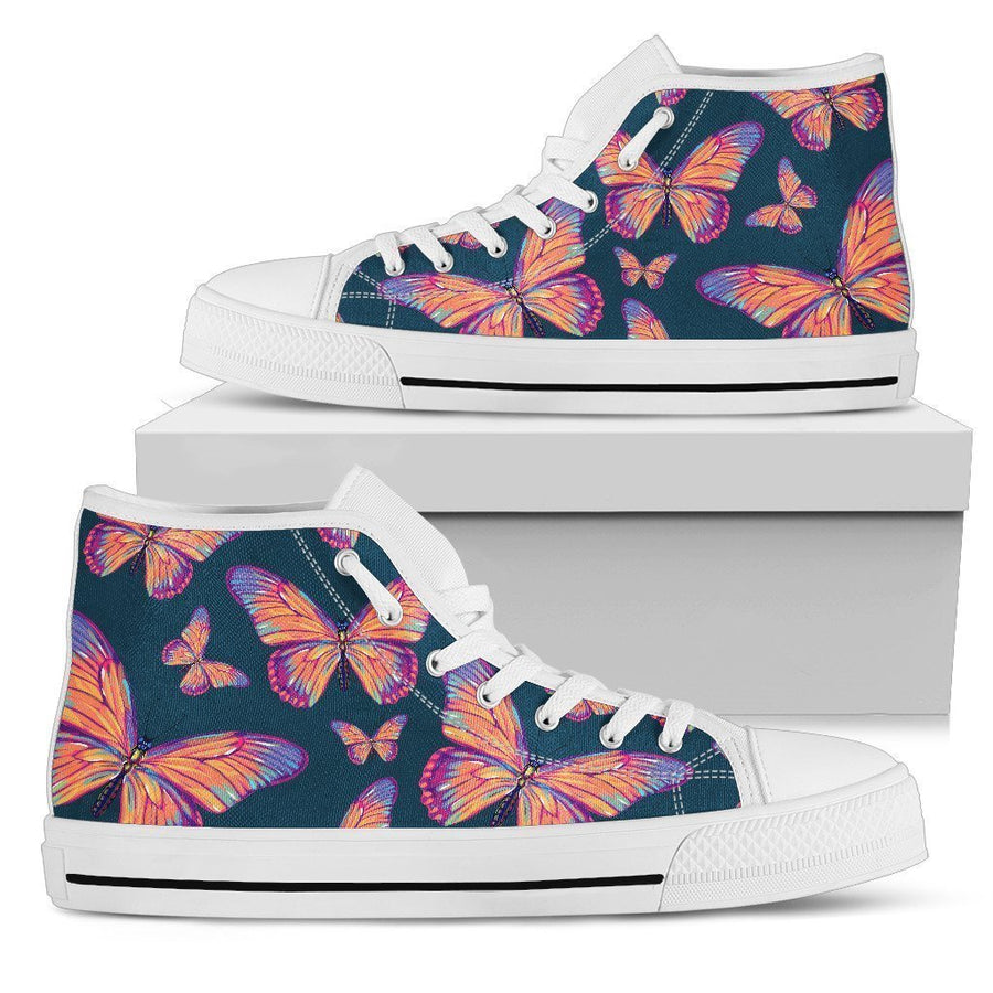 Orange And Purple Butterfly Print Women's High Top Shoes GearFrost