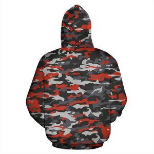 Orange Black And Grey Camouflage Print Pullover Hoodie GearFrost