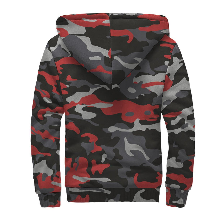 Orange Black And Grey Camouflage Print Sherpa Lined Fleece Hoodie GearFrost