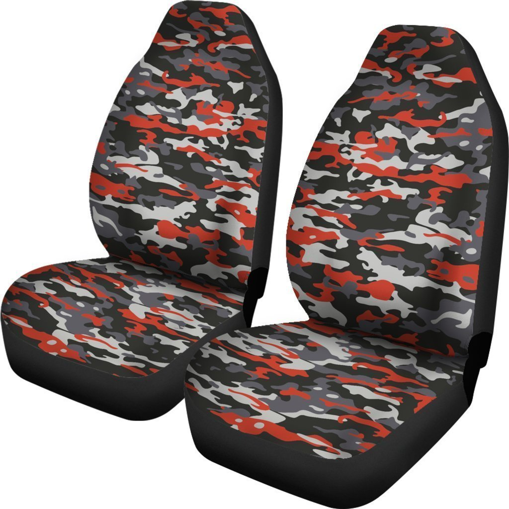 Orange Black And Grey Camouflage Print Universal Fit Car Seat Covers GearFrost