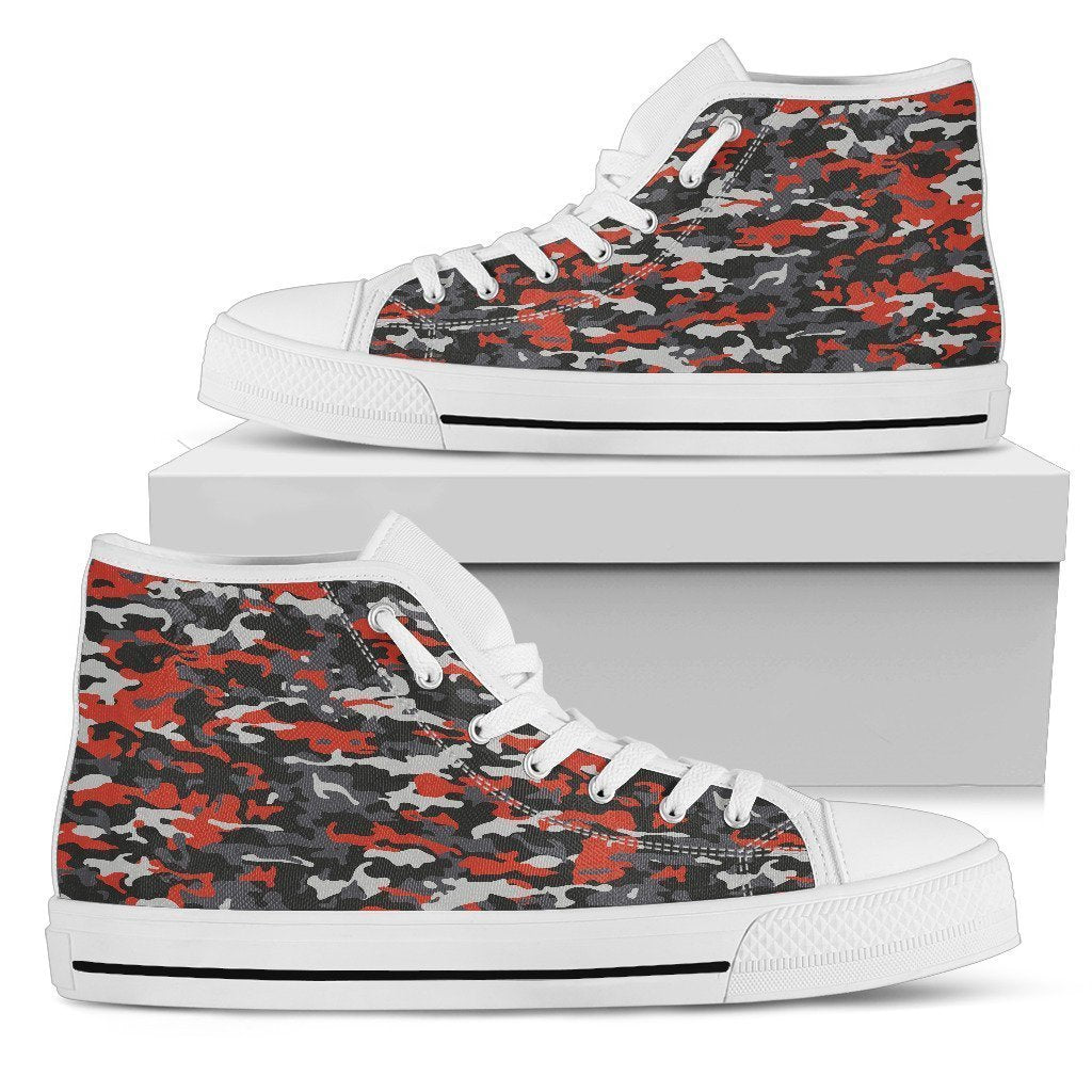 72db827760b18 Orange Black And Grey Camouflage Print Women's High Top Shoes ...