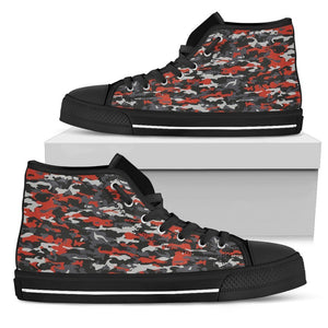 Orange Black And Grey Camouflage Print Women's High Top Shoes GearFrost