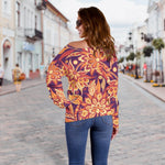 Orange Bohemian Floral Pattern Print Off Shoulder Sweatshirt GearFrost