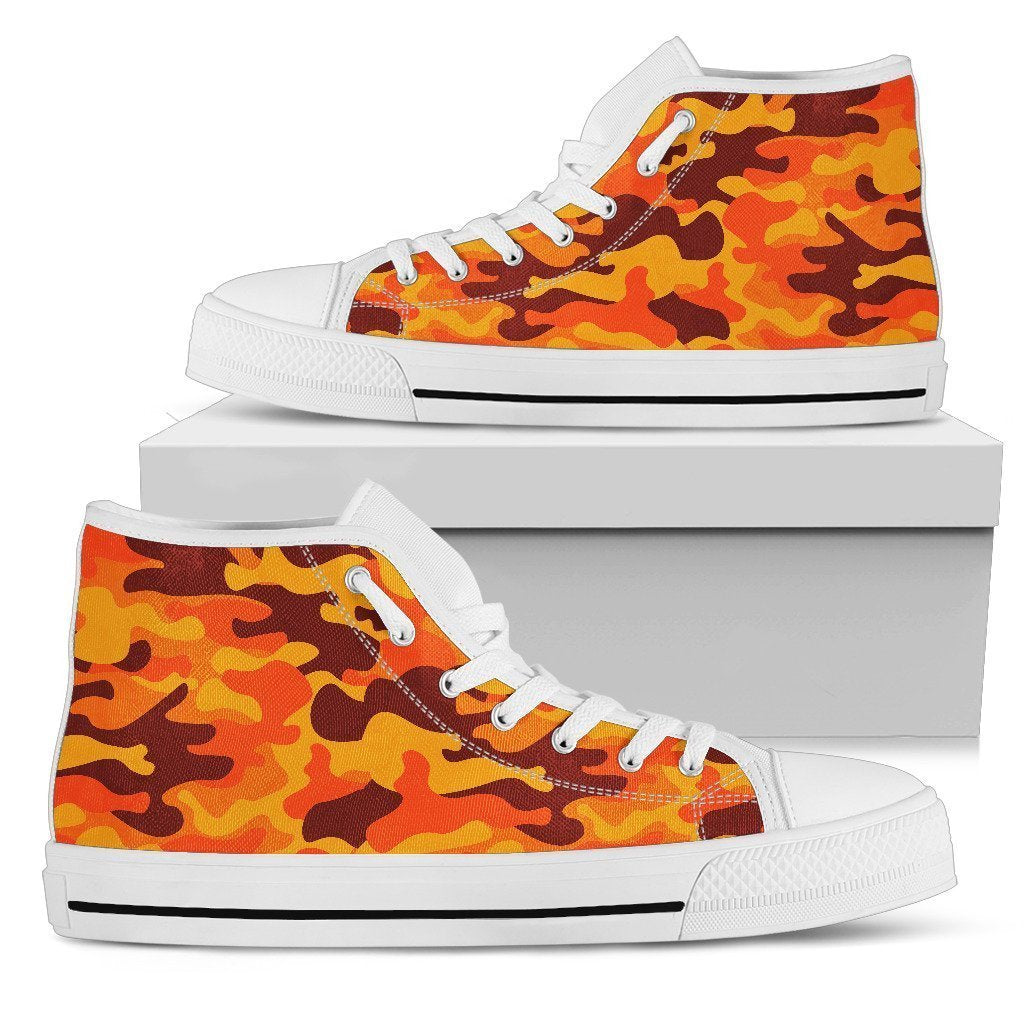 Orange Camouflage Print Men's High Top Shoes GearFrost