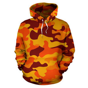 Orange Camouflage Print Pullover Hoodie GearFrost