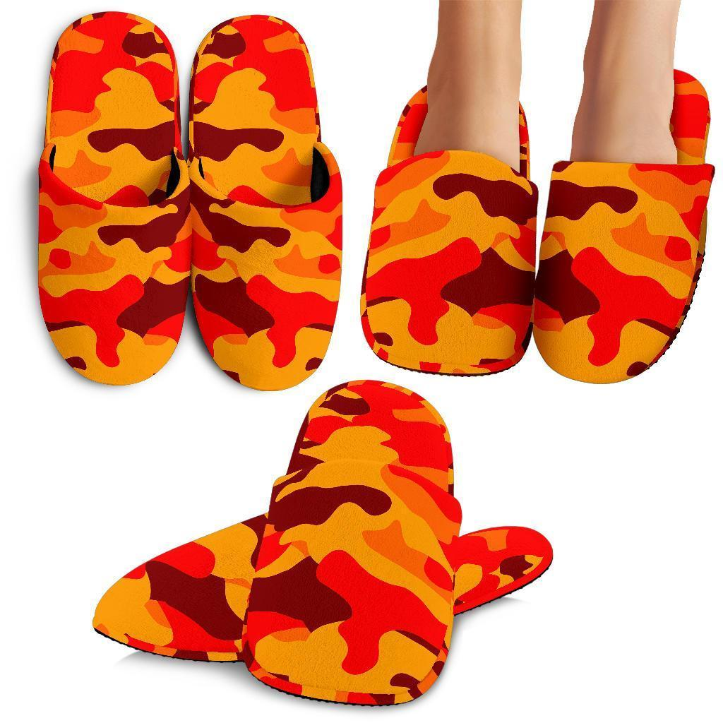 Orange Camouflage Print Slippers GearFrost
