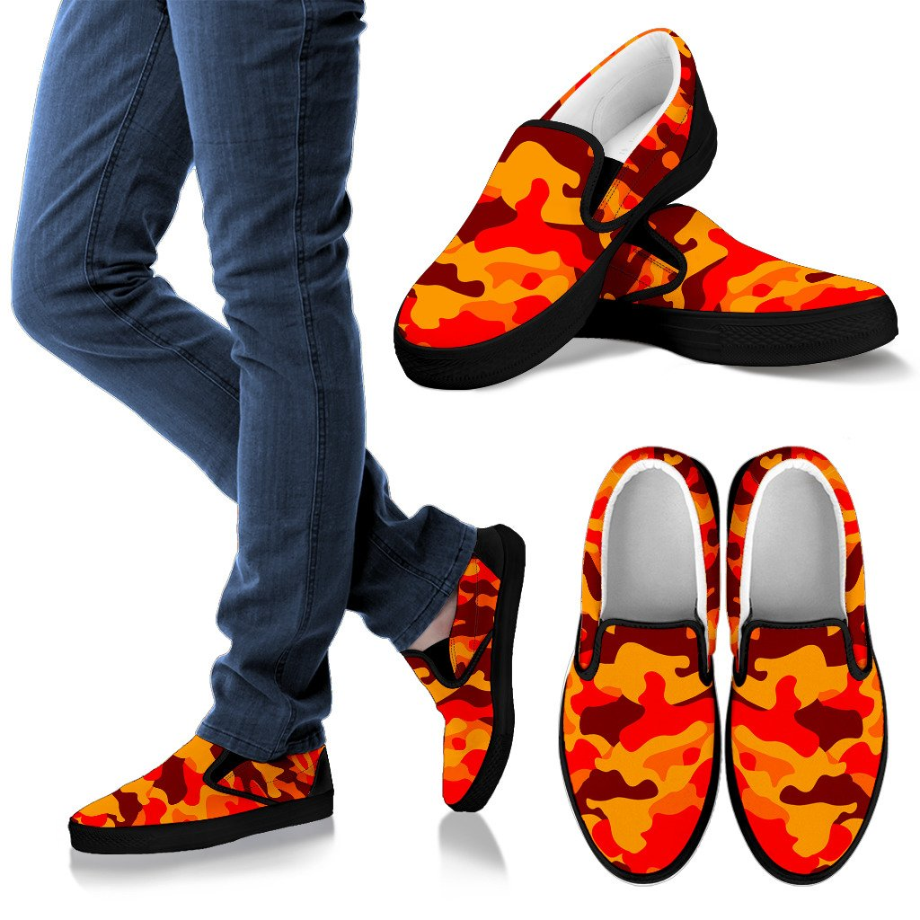 Orange Camouflage Print Women's Slip On Shoes GearFrost