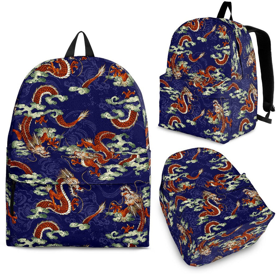 Orange Japanese Dragon Pattern Print Backpack GearFrost