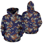 Orange Japanese Dragon Pattern Print Pullover Hoodie GearFrost