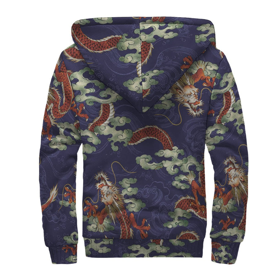 Orange Japanese Dragon Pattern Print Sherpa Lined Fleece Hoodie GearFrost