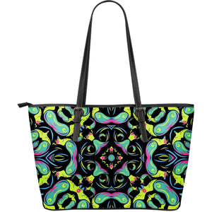 Ornament Psychedelic Trippy Print Leather Tote Bag GearFrost
