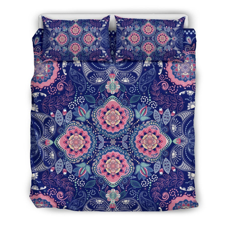 Ornamental Paisley Mandala Print Duvet Cover Bedding Set GearFrost