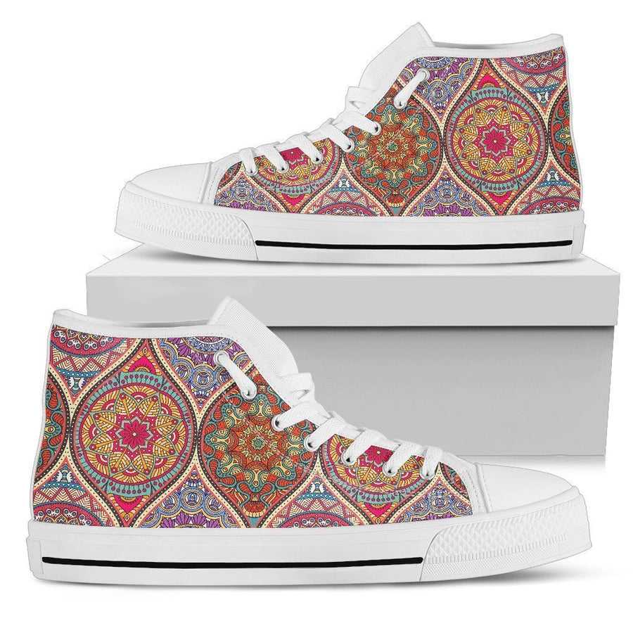 Oval Bohemian Mandala Patchwork Print Women's High Top Shoes GearFrost