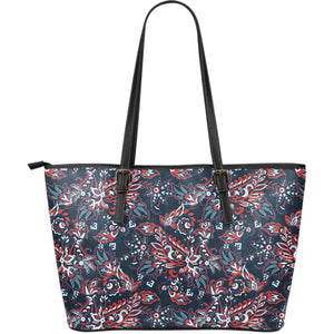 Paisley Floral Bohemian Pattern Print Leather Tote Bag GearFrost
