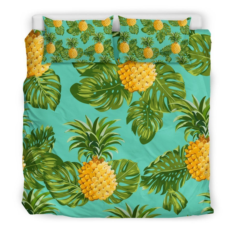 Palm Leaf Pineapple Pattern Print Duvet Cover Bedding Set GearFrost