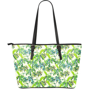 Palm Tree Banana Pattern Print Leather Tote Bag GearFrost