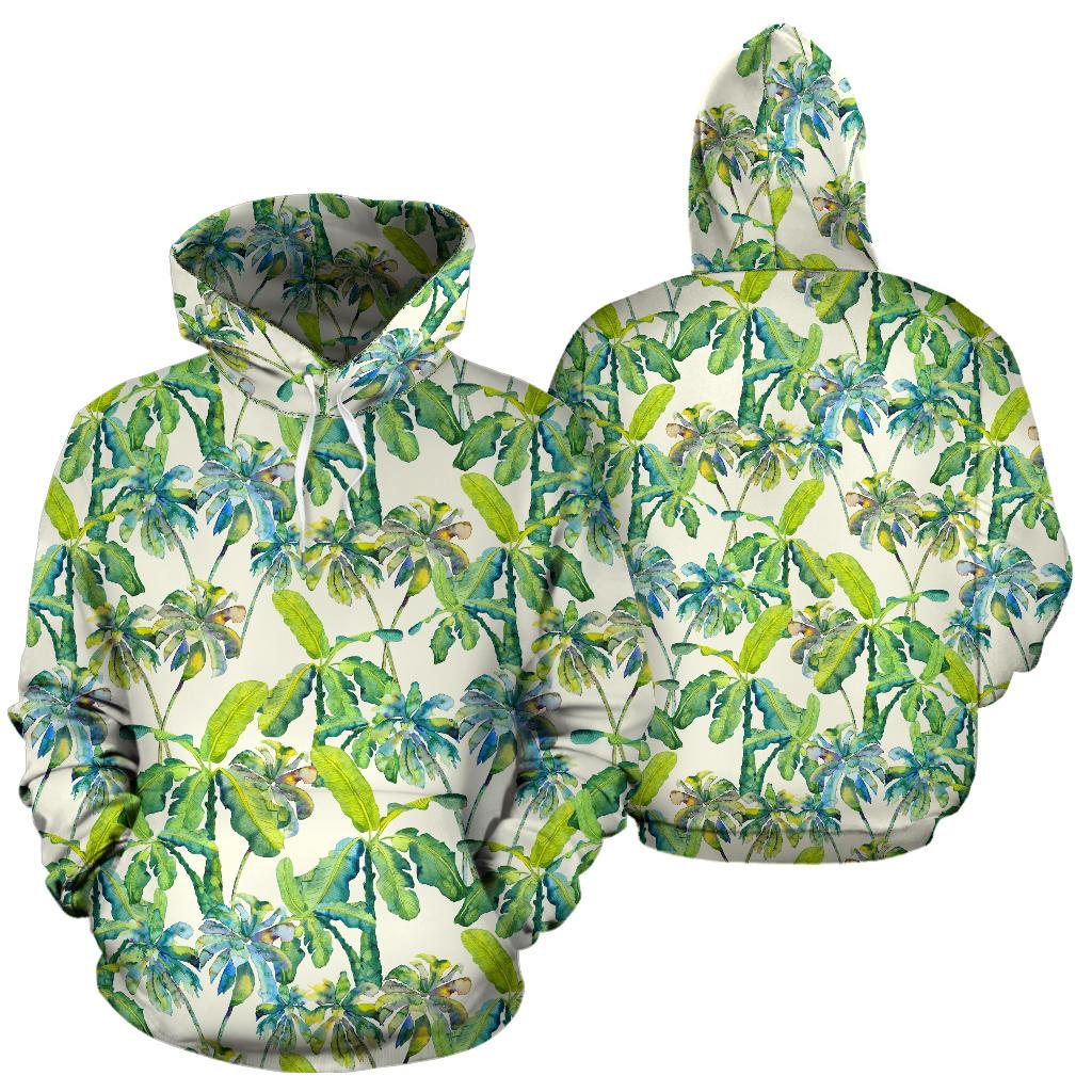 Palm Tree Banana Pattern Print Pullover Hoodie GearFrost