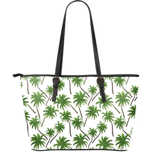 Palm Tree Pattern Print Leather Tote Bag GearFrost