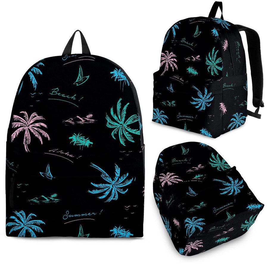 Palm Tree Summer Beach Pattern Print Backpack GearFrost