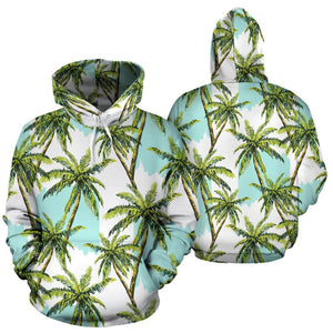 Palm Tree Tropical Pattern Print Pullover Hoodie GearFrost