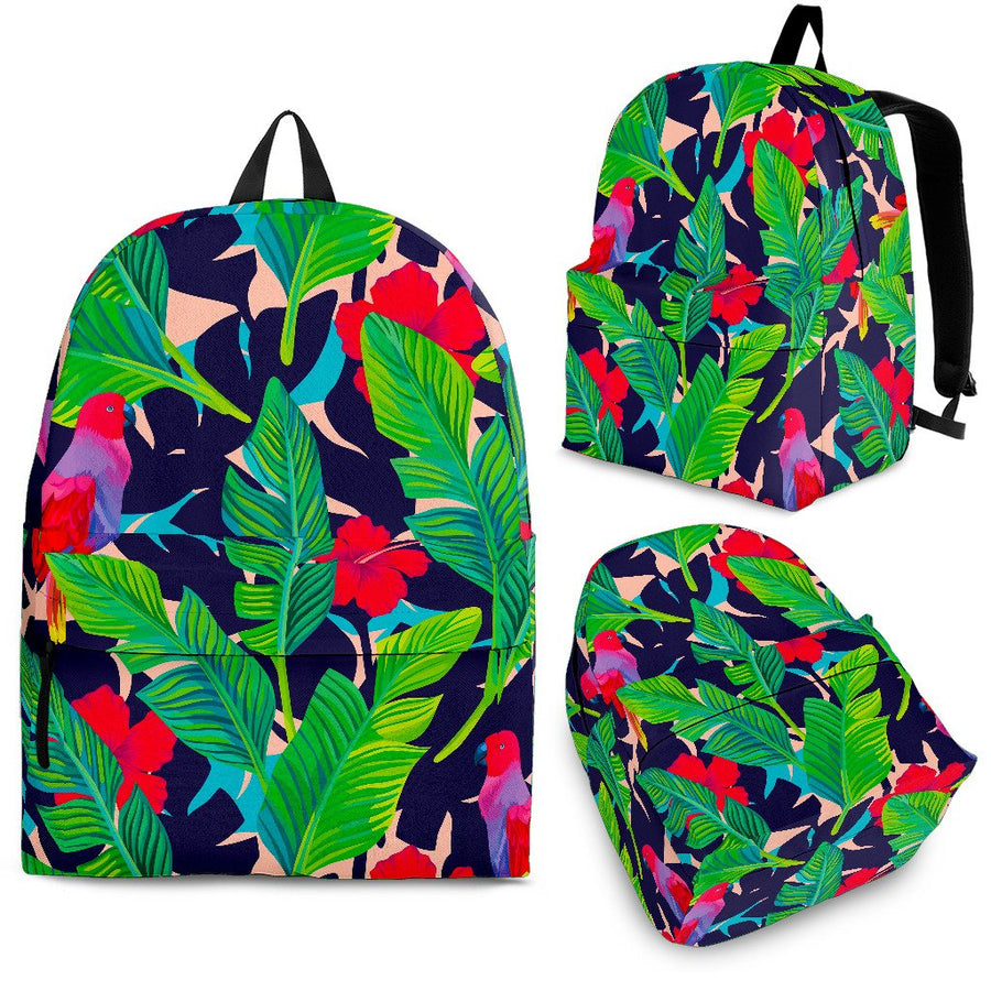 Parrot Banana Leaf Hawaii Pattern Print Backpack GearFrost